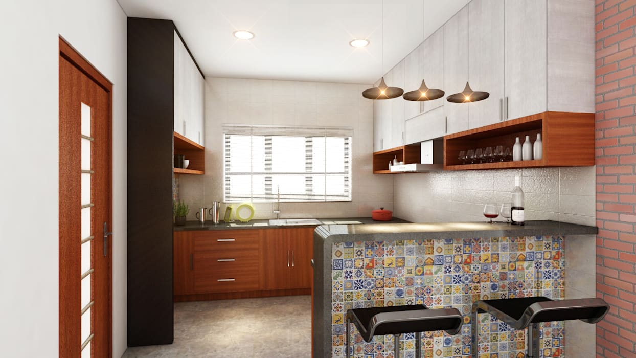 Tropical style kitchen by S Squared Architects Pvt Ltd. Tropical Engineered Wood Transparent