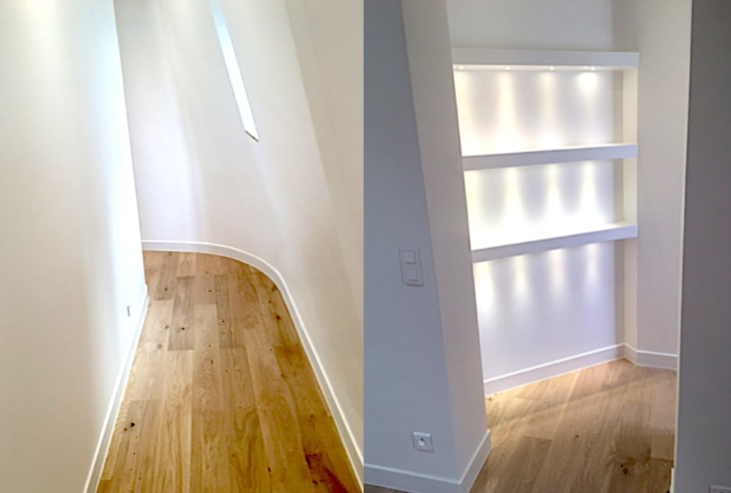 Appartement sous comble rue de la pompe Paris 16 Couloir, entrée, escaliers minimalistes par 2002 Minimaliste