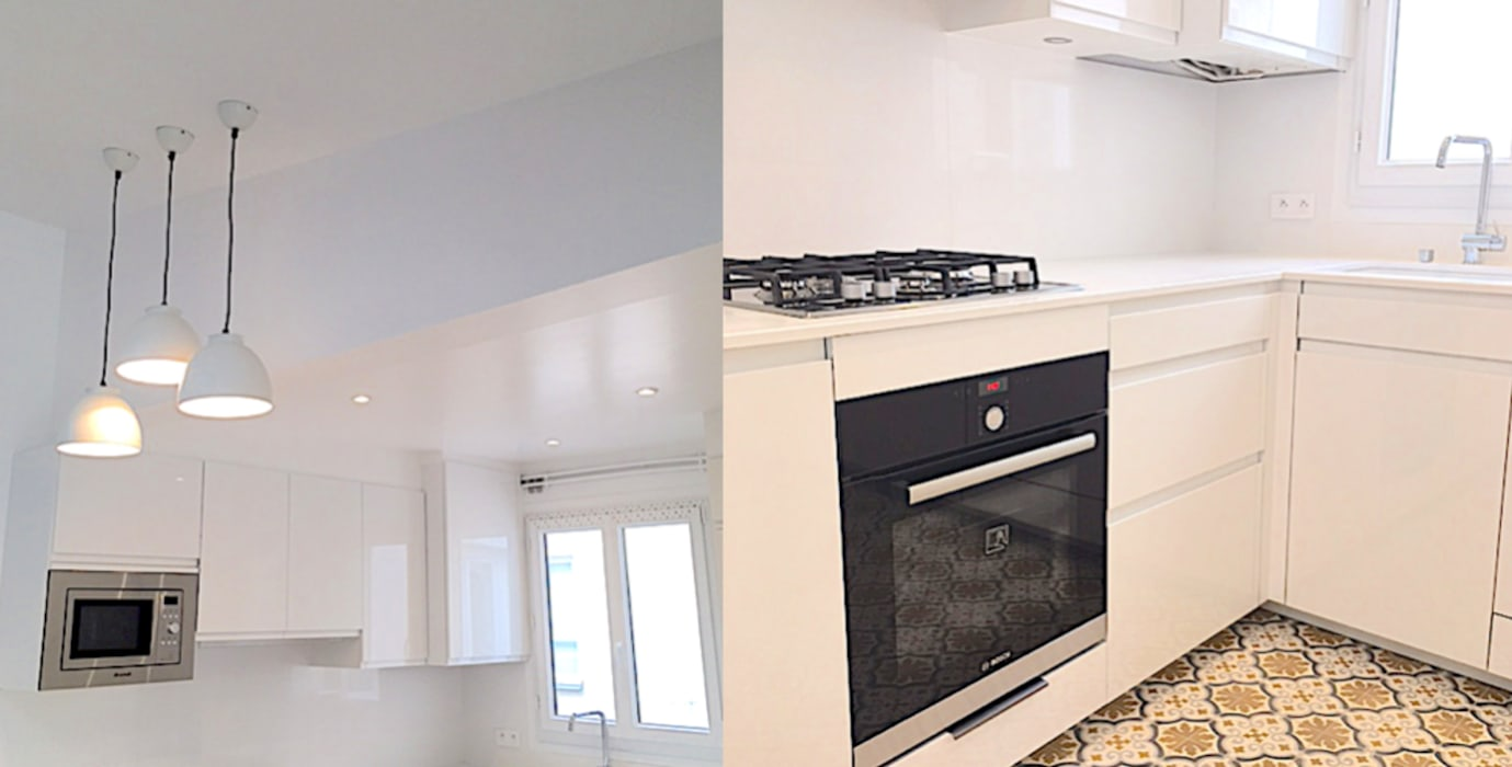 appartement sous comble rue de la pompe paris 16: cuisine de style