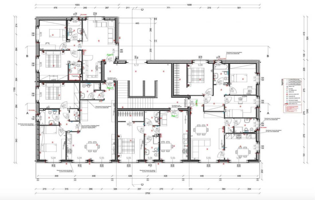 Condominio in legno a Milano, Carugate, pianta piano primo: Casa di legno in stile  di Novello Case in Legno