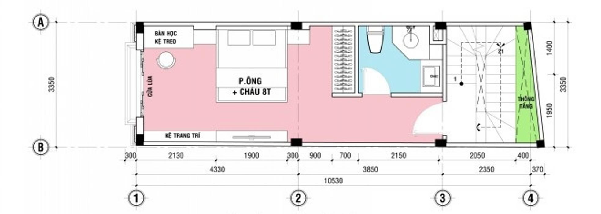 Bố trí mặt bằng thiết kế nhà ống 4 tầng bởi Công ty TNHH Xây Dựng TM – DV Song Phát Hiện đại