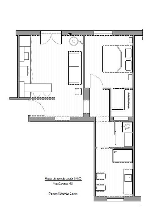 Planimetria arredo: Soggiorno in stile in stile Minimalista di MINIMAL di Casini Roberta