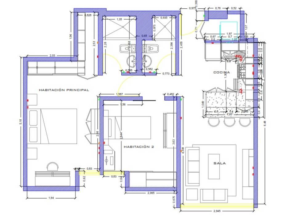 Remodelacion Interior Apartamento Caracas: Muebles de cocinas de estilo  por Arq. Barbara Bolivar, Moderno