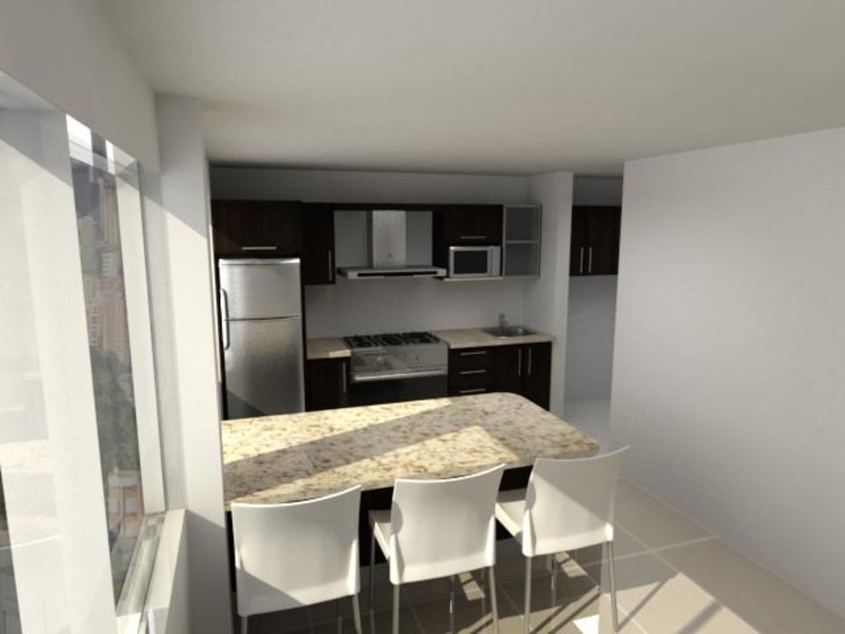 Diseño de Cocina Apartamento Caracas: Muebles de cocinas de estilo  por Arq. Barbara Bolivar, Moderno Madera Acabado en madera