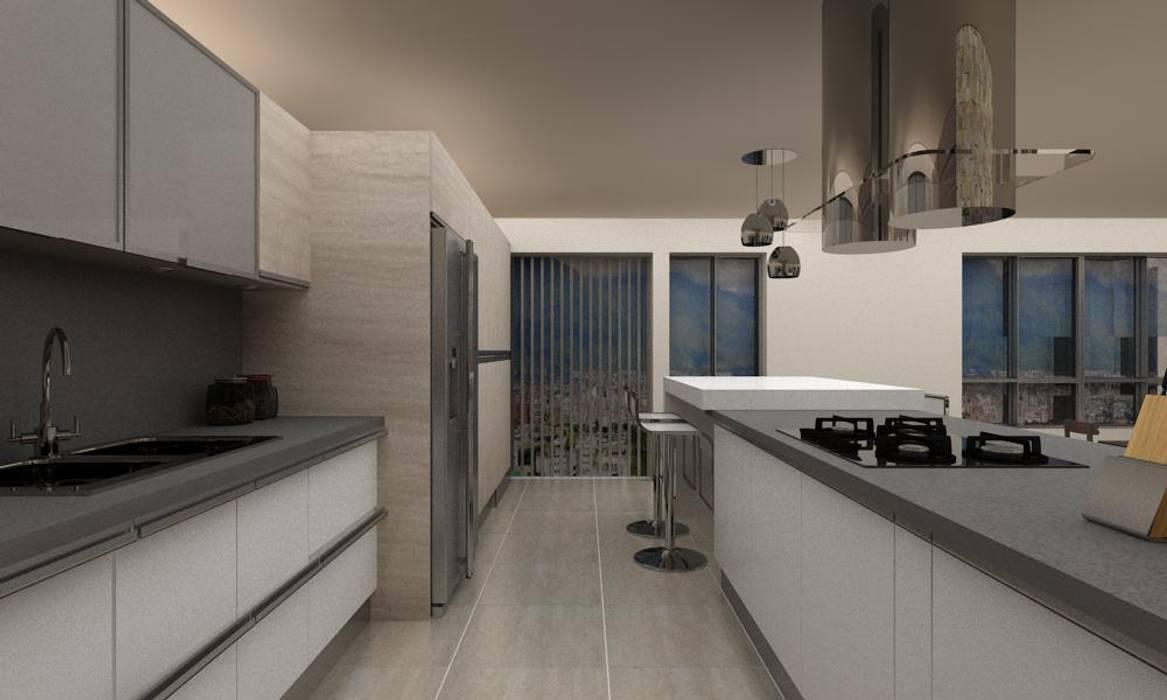 Diseño Cocina y Mueble Tv de Arq. Barbara Bolivar Moderno Madera Acabado en madera