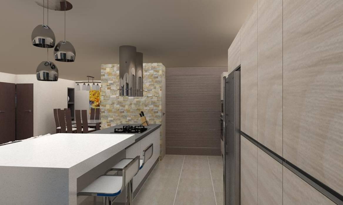 Diseño Cocina y Mueble Tv: Muebles de cocinas de estilo  por Arq. Barbara Bolivar,