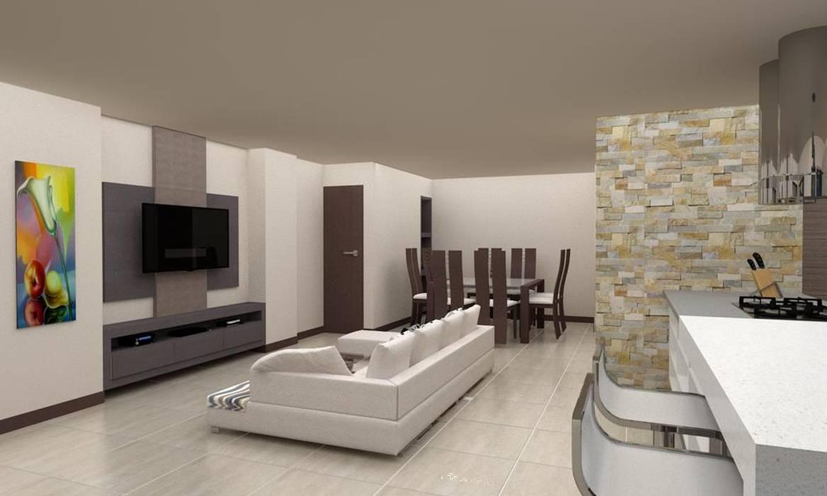 Diseño Cocina y Mueble Tv: Salas / recibidores de estilo  por Arq. Barbara Bolivar, Moderno Madera Acabado en madera