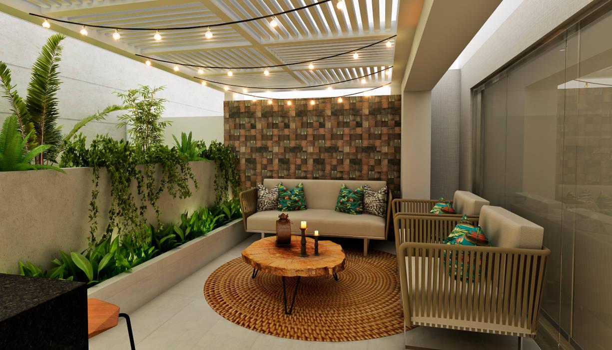 PROYECTO WA : Terrazas de estilo  por Luis Escobar Interiorismo,