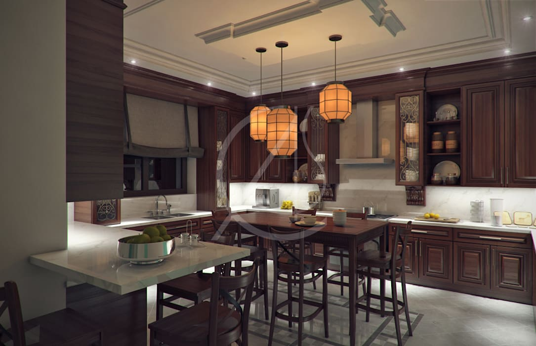 Kitchen:  Kitchen units by Comelite Architecture, Structure and Interior Design , Classic Wood Wood effect