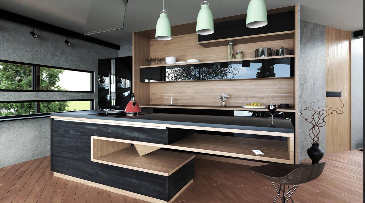 Cocina moderna cocinas integrales de estilo por adrede for Cocinas integrales modernas con barra