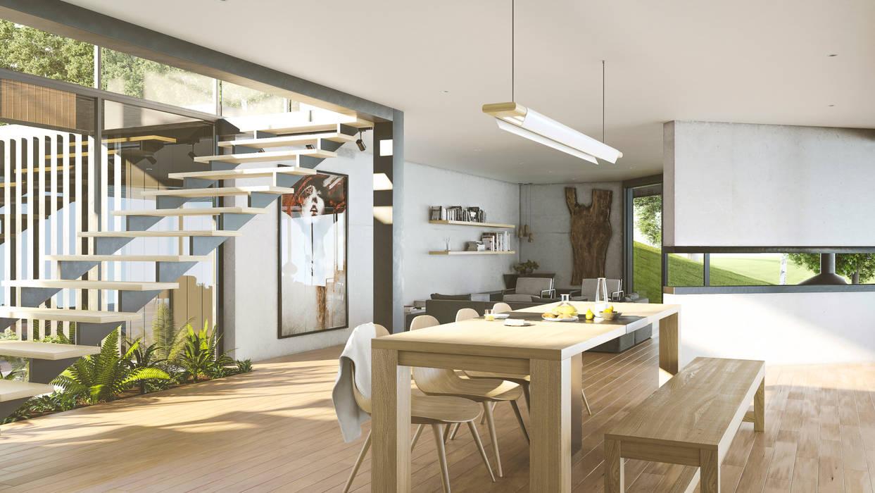 Sala calida Salas modernas de Adrede Diseño Moderno Madera Acabado en madera
