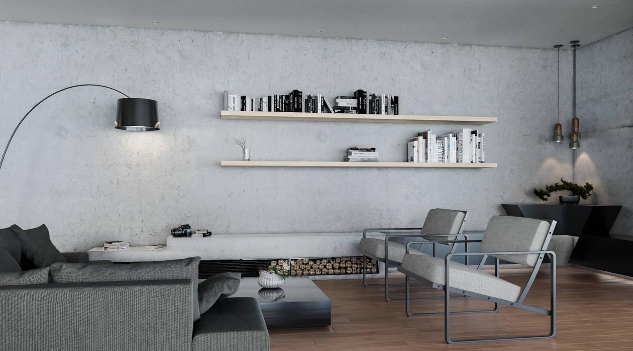 Sala chimenea: Salas de estilo  por Adrede Diseño