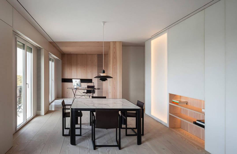 Appartement Contemporain Minimaliste Et élégant : Blanc, Bois Et Marbre  Blanc: Salle à Manger
