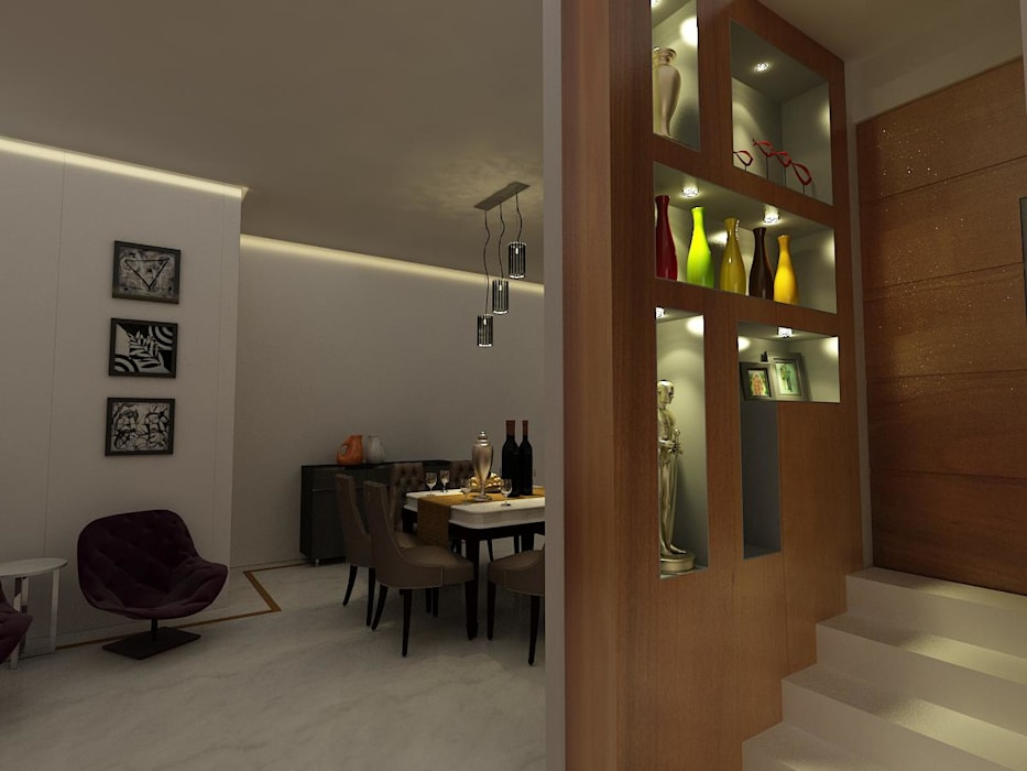 MALVIYA NAGAR RESIDENCE, NEW DELHI:  Dining room by Total Interiors Solutions Pvt. ltd. ,Eclectic