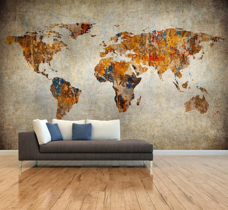 Dijivol Duvar Kağıtları – vol-HAR0417 / Renkli Eskitme Harita:  tarz Duvarlar
