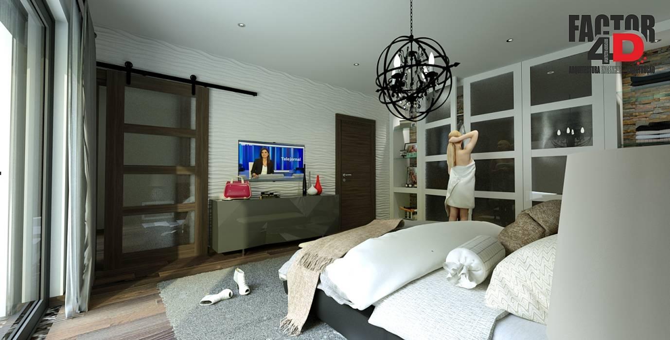Interior#002 Factor4D - Arquitetura, Engenharia & Construção Quartos modernos
