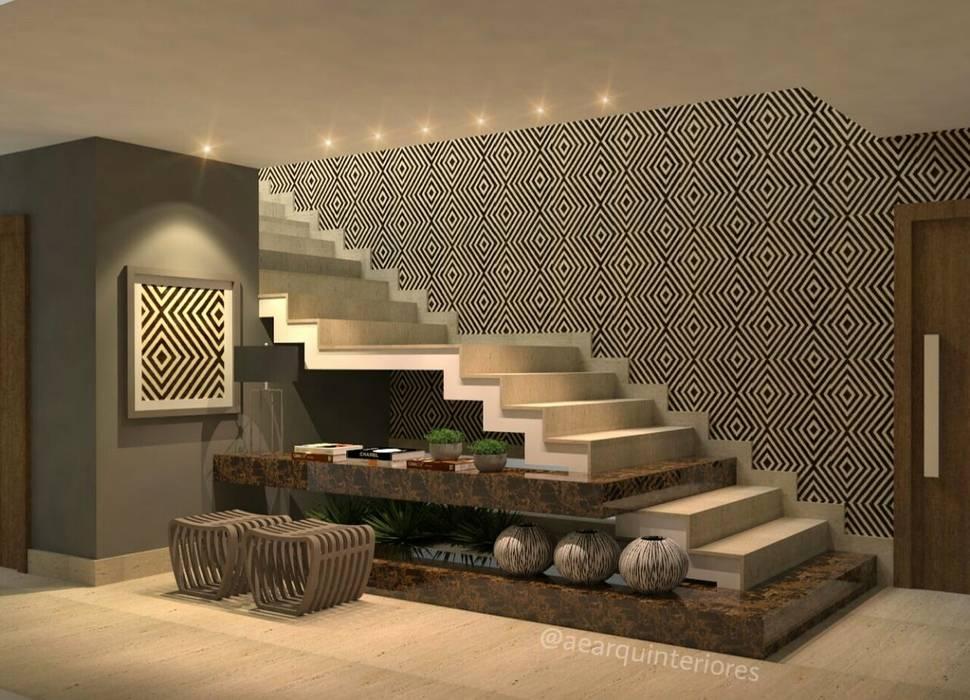 HALL / ESCADA: Escadas  por AE ARQUINTERIORES