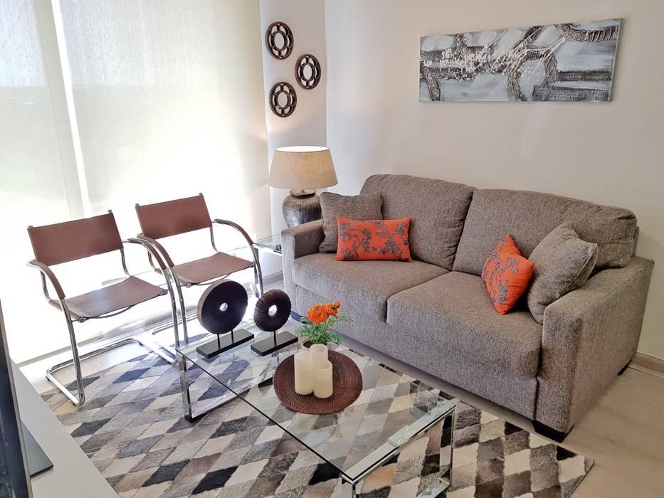 Living comedor 28 m2 Livings de estilo moderno de Oscar Saavedra Diseño y Decoración Spa Moderno Derivados de madera Transparente