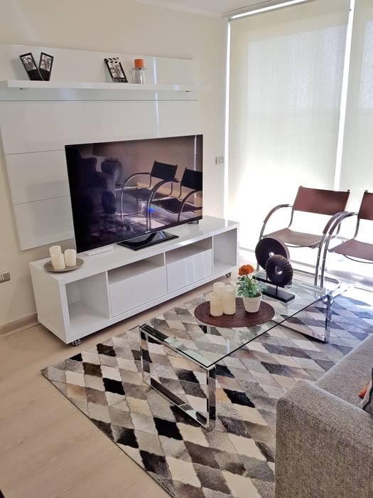 Living comedor 28 m2 Livings de estilo moderno de Oscar Saavedra Diseño y Decoración Spa Moderno