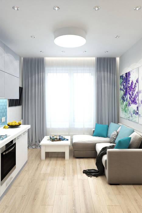 Однокомнатная квартира в ЖК Новин квартал: Гостиная в . Автор – Гузалия Шамсутдинова | KUB STUDIO