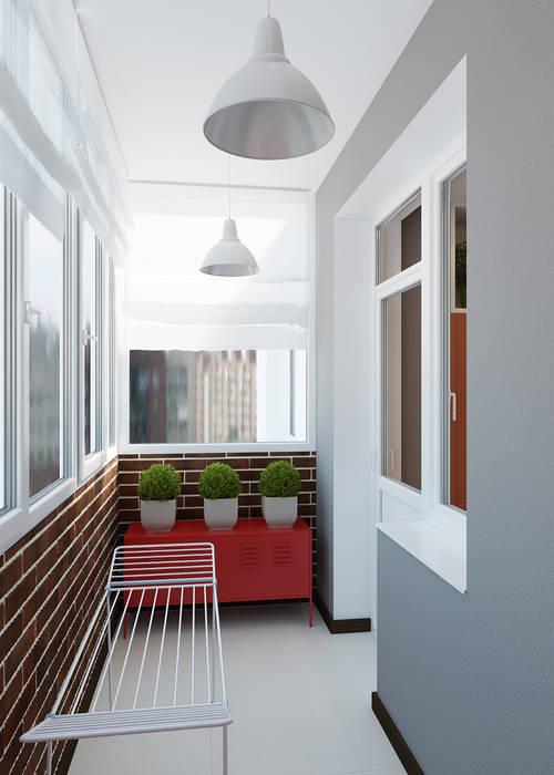 Проект квартиры на ул.Шейнкмана,111 Балкон и терраса в стиле модерн от Дизайн Студия 33 Модерн