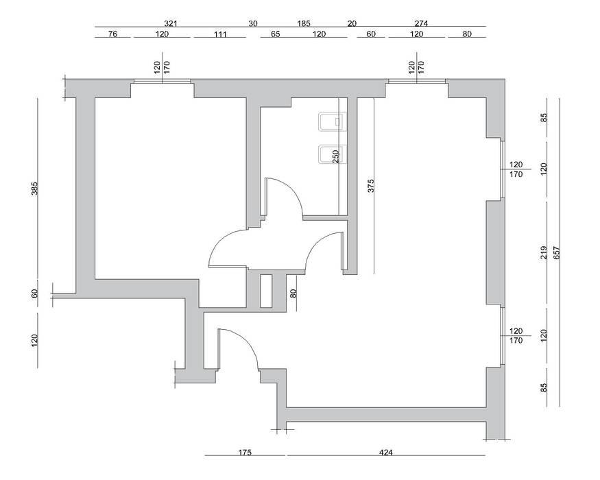Bilocale Grigio - Stato di fatto: Soggiorno in stile in stile Scandinavo di MINIMAL di Casini Roberta