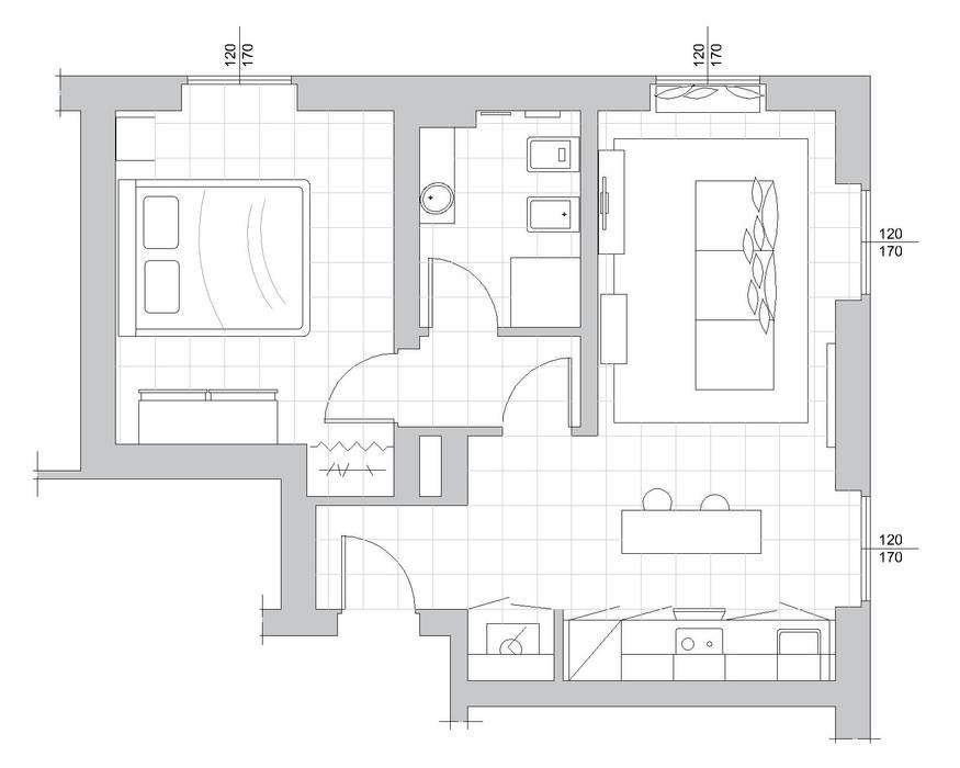 Bilocale Grigio - planimetria arredo: Soggiorno in stile in stile Scandinavo di MINIMAL di Casini Roberta