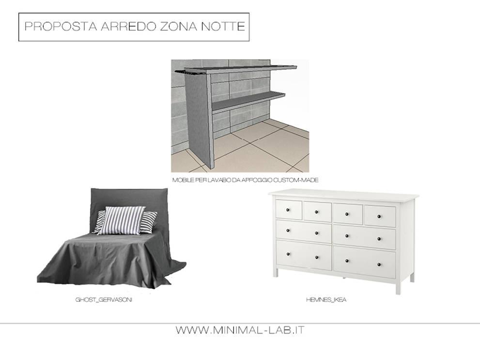 Bilocale Grigio - Arredi: Camera da letto in stile  di MINIMAL di Casini Roberta