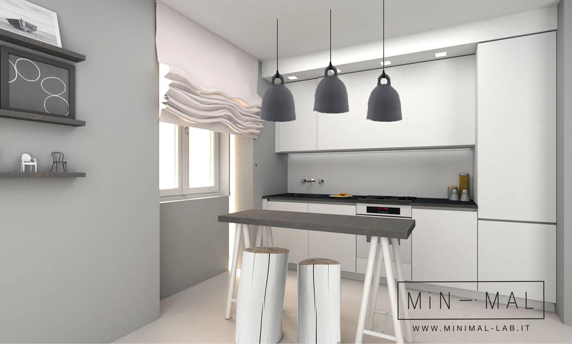 Bilocale Grigio - Rendering Cucina: Cucina attrezzata in stile  di MINIMAL di Casini Roberta