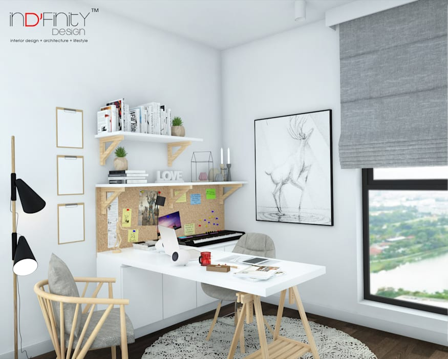 Scandinavian Design . Condominium:  Study/office by inDfinity Design (M) SDN BHD