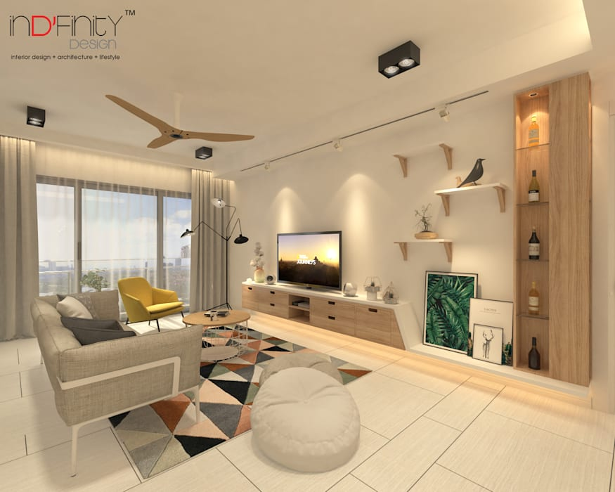Scandinavian Design . Condominium:  Living room by inDfinity Design (M) SDN BHD,