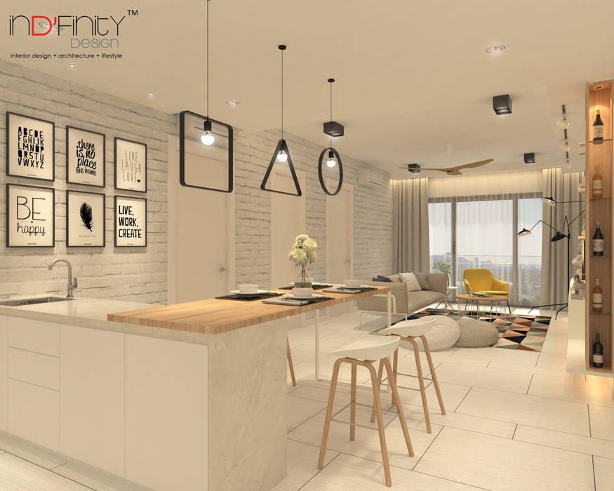 Scandinavian Design . Condominium:  Living room by inDfinity Design (M) SDN BHD,