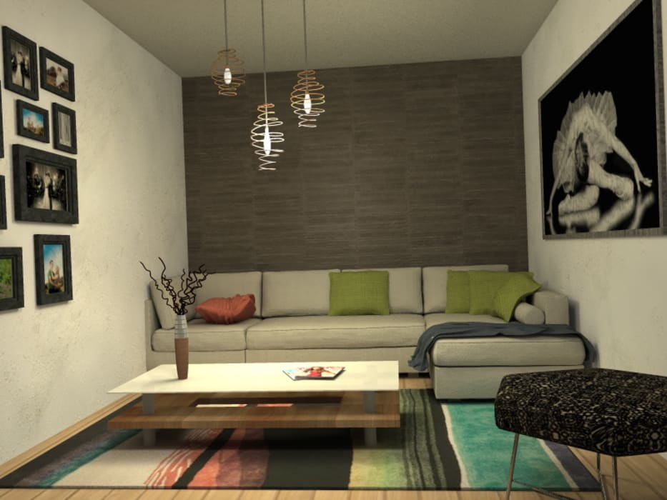 Visualizacion final del proyecto: Livings de estilo  por MM Design,
