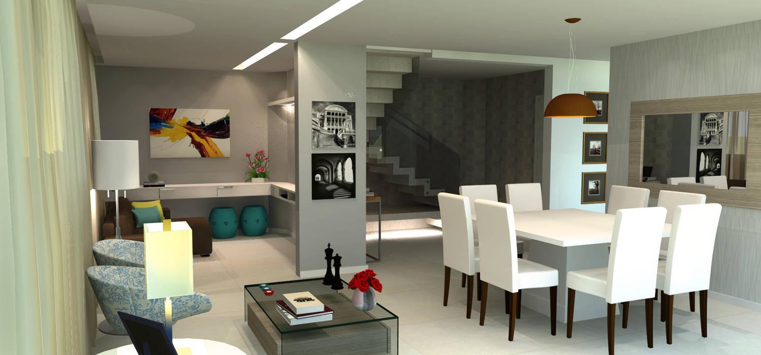 Sala de Jantar, Estar e Tv integradas:   por Joana Rezende Arquitetura e Arte