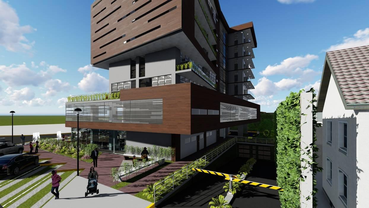 Fachada este: Casas multifamiliares de estilo  por Vida Arquitectura, Moderno Madera Acabado en madera