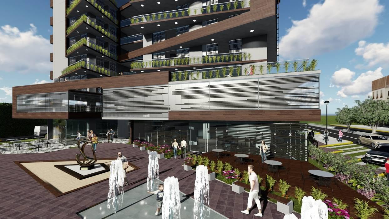 Vista plaza de acceso: Jardines en la fachada de estilo  por Vida Arquitectura,