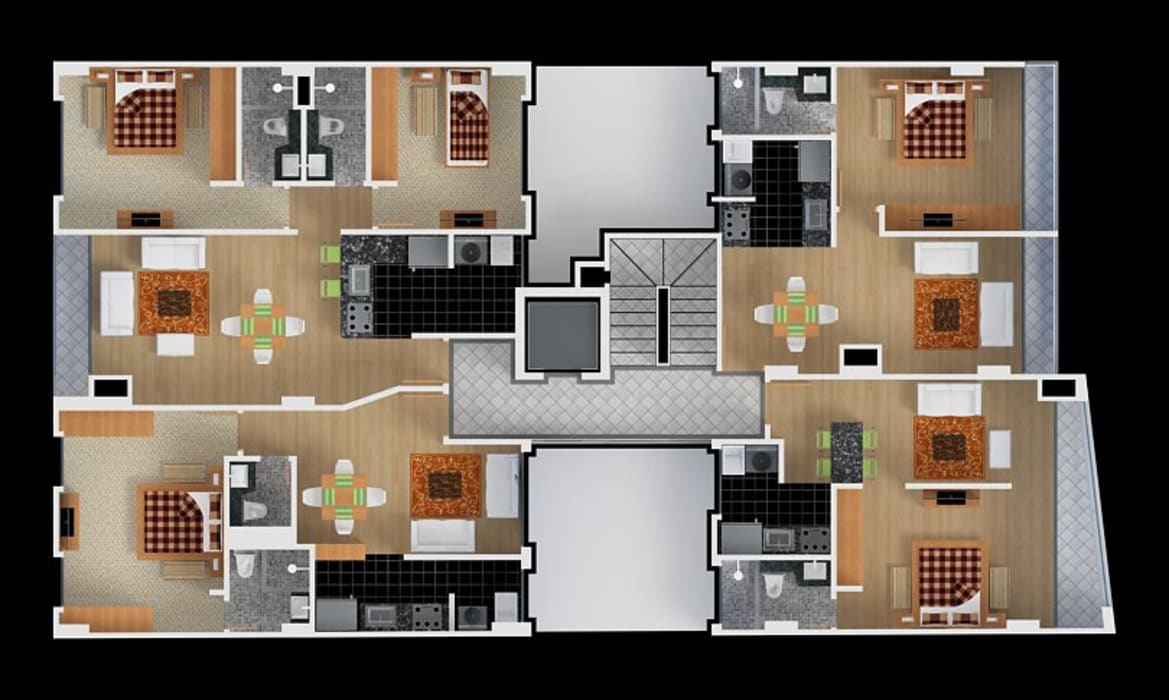 Planta Tipo: Habitaciones de estilo moderno por MSA Arquitectos