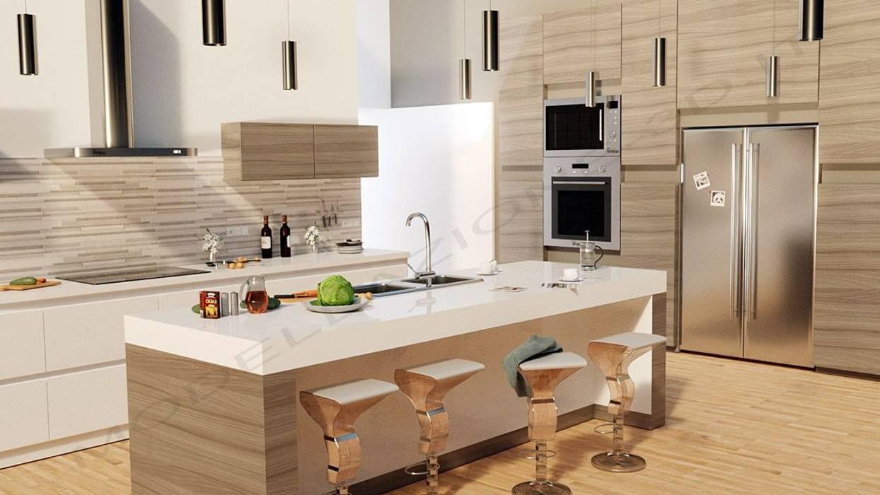 Cucina stile moderno con isola: cucina in stile di modellazione-3d ...