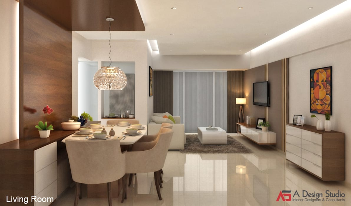 LIVING & DINING ROOM:  Living room by A Design Studio
