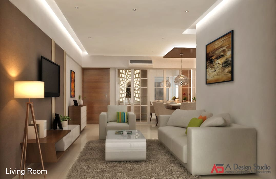 LIVING & DINING:  Living room by A Design Studio,