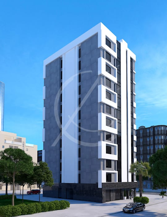 . 12 story modern apartment exterior design  multi family house by