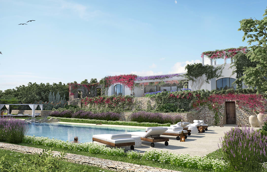 Buitenzwembad door architetto stefano ghiretti