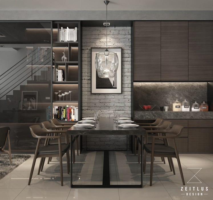 DINING AREA:  Dining room by Zeitlus Design,