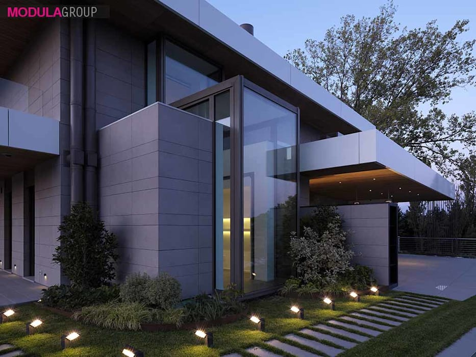 Bow window: Casa unifamiliare in stile  di Modula Group Srl