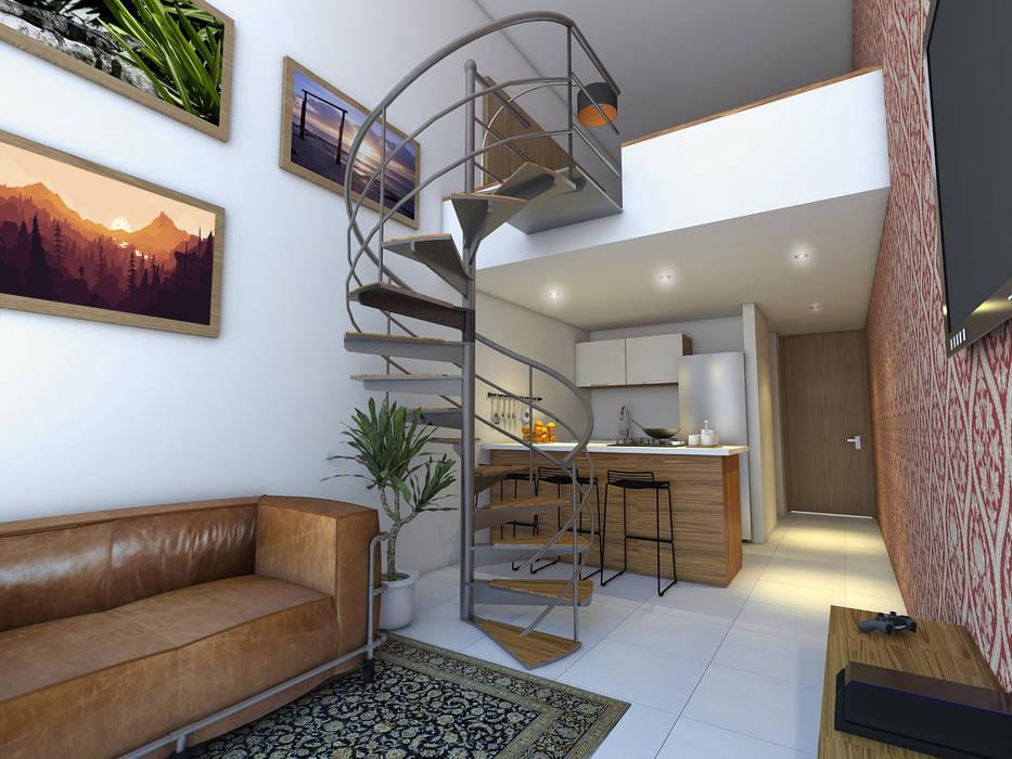 Vista Sala / Cocina: Salas de estilo moderno por Gliptica Design