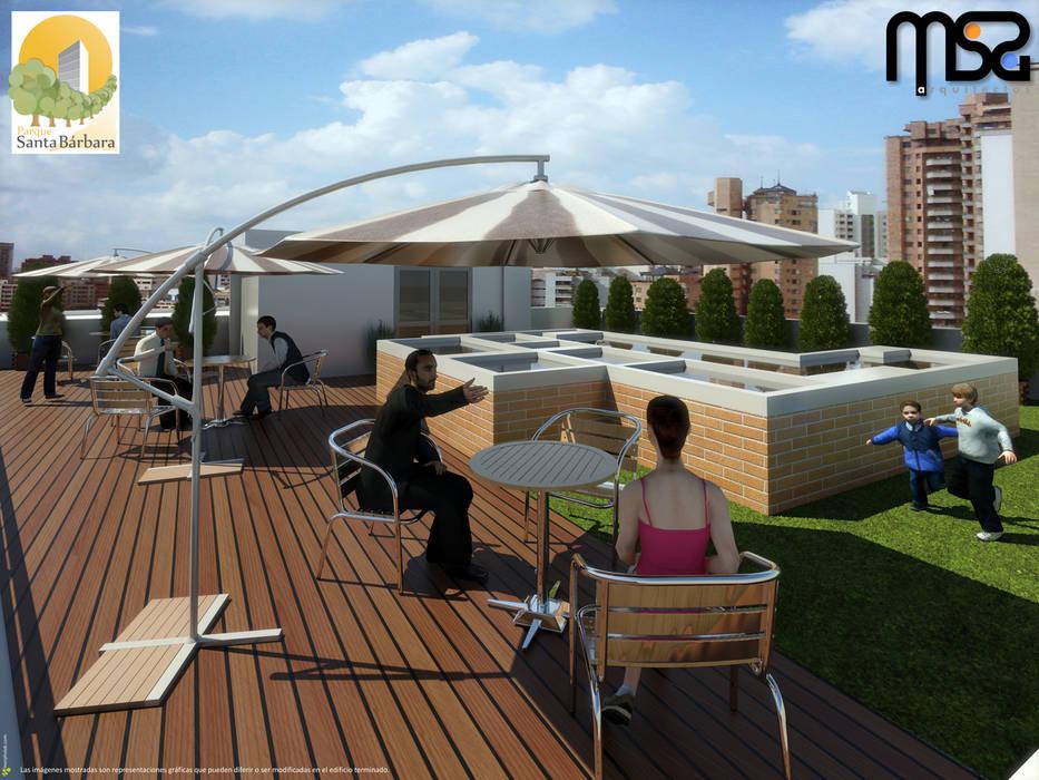 Terraza y BarBQ: Terrazas de estilo  por MSA Arquitectos
