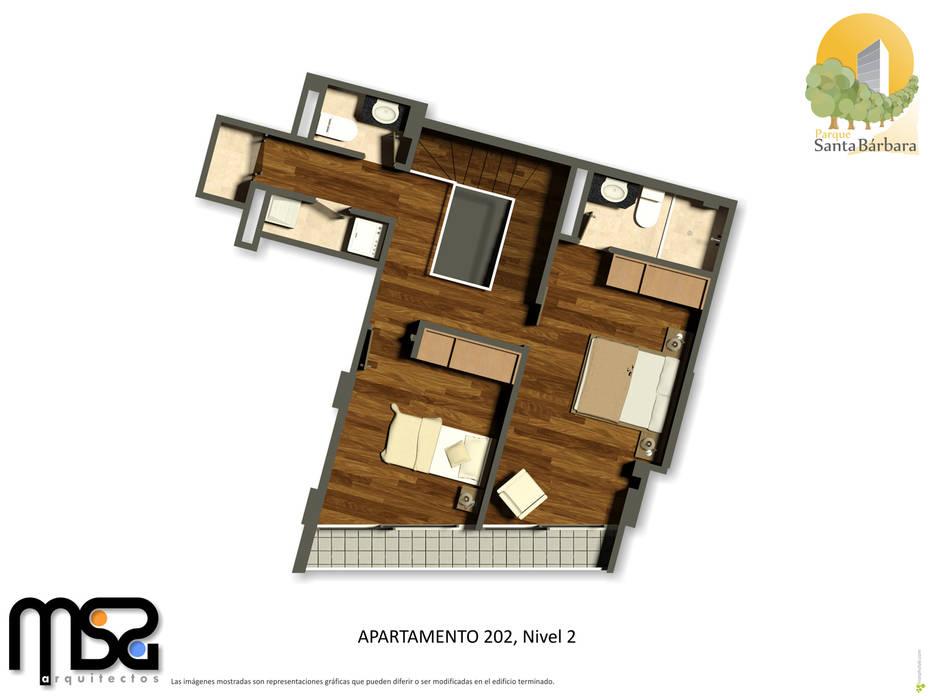 Apartamento tipo 3, dúplex, planta segundo piso: Casas de estilo  por MSA Arquitectos