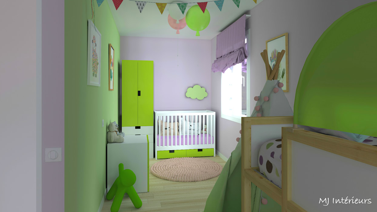 Une nurserie chez mamie: Chambre bébé de style  par MJ Intérieurs