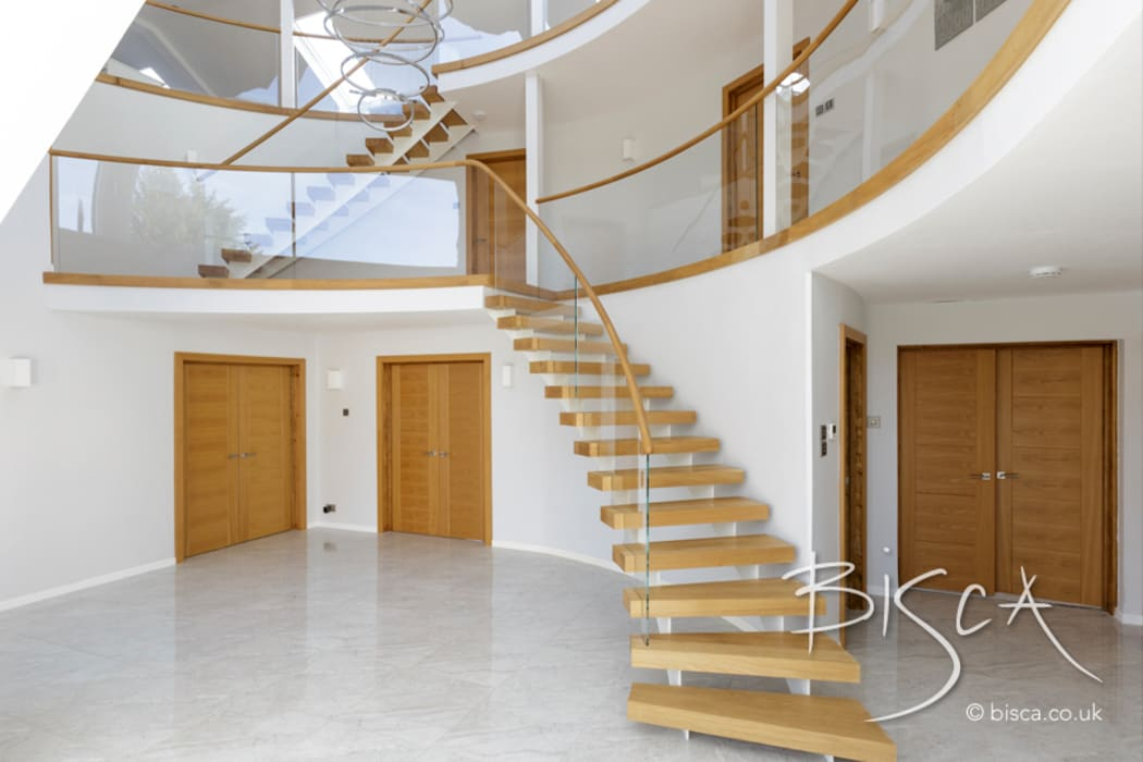 Painted Twin Stringer Stair With Glass Balustrade Stairs By Bisca