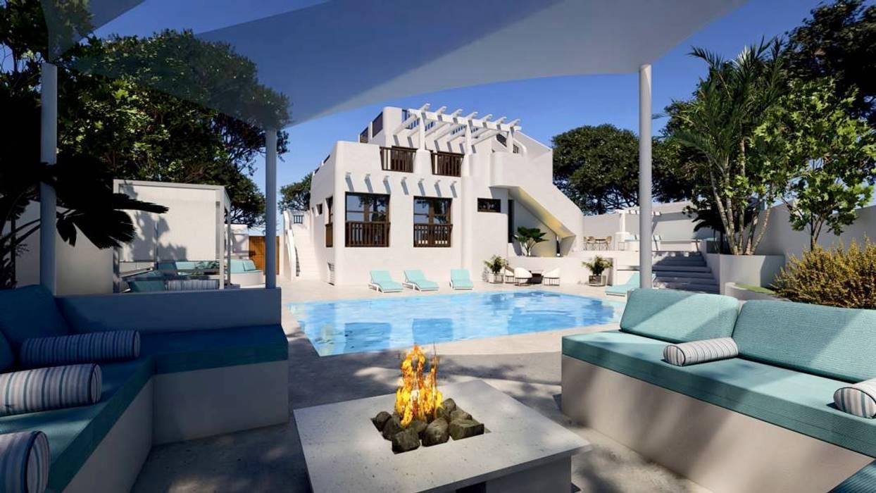 Exterior y piscina Pacheco & Asociados Piscinas de estilo mediterráneo Blanco